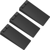 Monno® Deurstopper - Stapelbaar - Deurbuffer - Deurvastzetter - Deurwig - voor Binnen - 3 Stuks - Rubber - Zwart