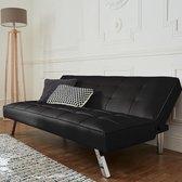 Slaapbank Newyork leatherlook zwart