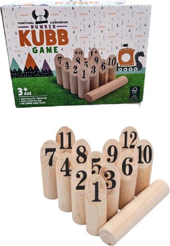 Kubb Familie spel nummers - Inclusief opbergtas- Gemaakt van hout - Vakantie familiespel