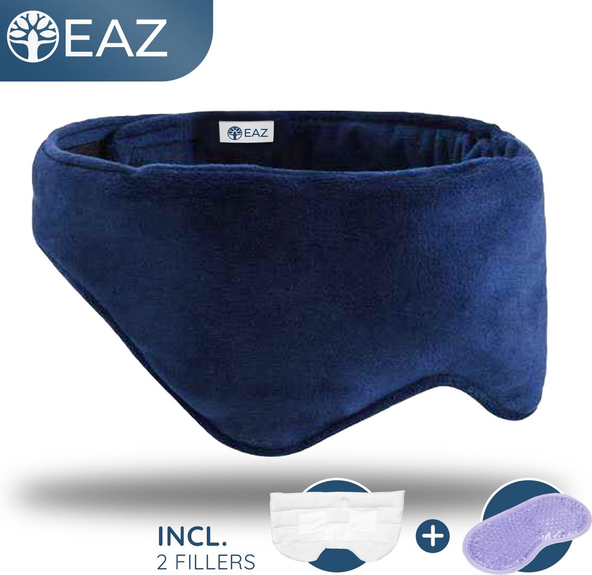EAZ® Verzwaard Slaapmasker Incl. Koelfiller en Bewaarhoes - Verwarmd Oogmasker - Relax - Migraine -