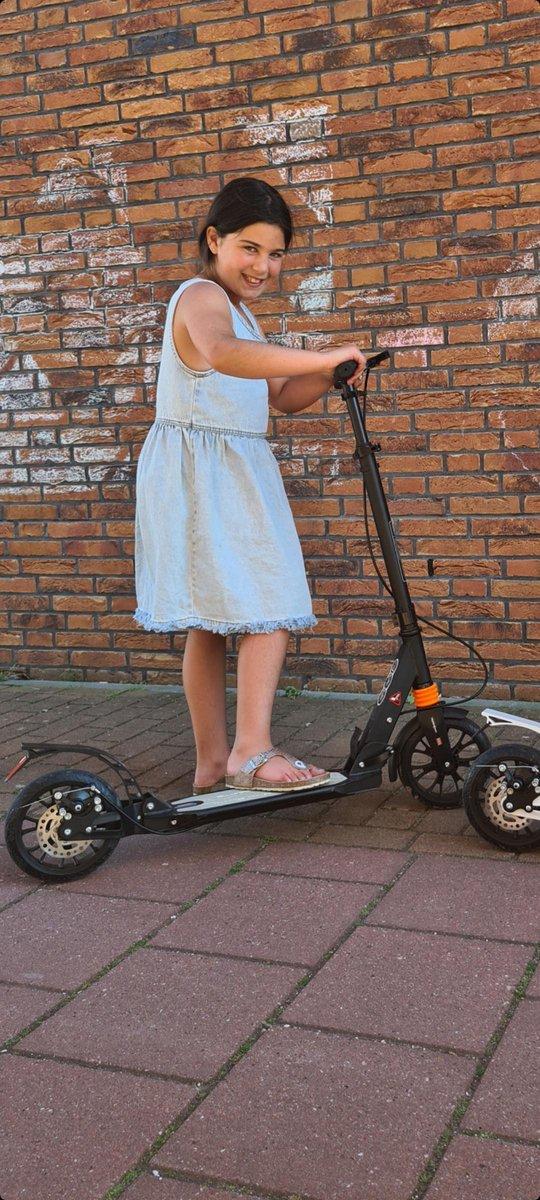 Zwarte Urban Scooter Step -Extra brede banden 200mm X 40mm -Wit-Step Volwassenen Opvouwbaar -Wit- Step(Niet elektrisch)-Step Volwassenen Opvouwbaar - Vering - - 100kg - Autoped Grote Wielen