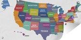 Tuinposter - Kleurrijke landkaarten VS op witte achtergrond - 160x80 cm