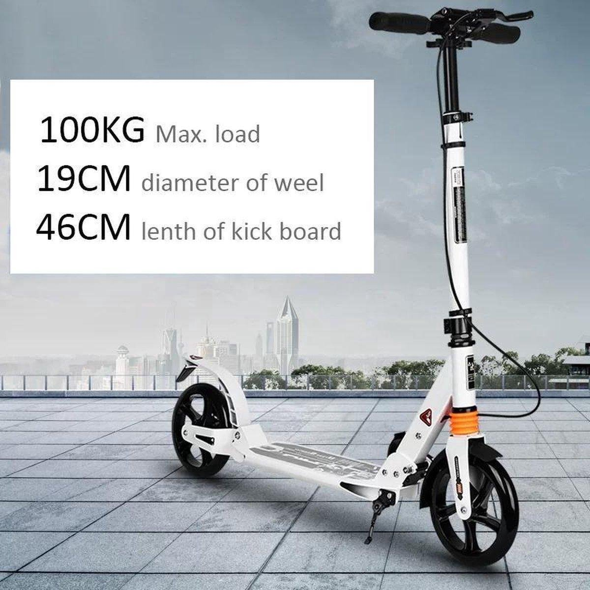 Witte Urban Scooter Step -Extra brede banden 200mm X 40mm -Wit-Step Volwassenen Opvouwbaar -Wit- Step(Niet elektrisch)-Step Volwassenen Opvouwbaar - Vering - - 100kg - Autoped Grote Wielen