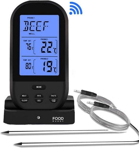 FoodBuddy® PRO ++ Vleesthermometer Draadloos – BBQ Thermometer – Inclusief e-Book – Kernthermometer – 2 Meetsondes – Kamado - Barbeque – Suikerthermometer - Digitaal