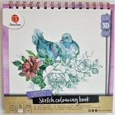 Schets kleurboek 3D | Kleurboek 3D | Natuur | paars