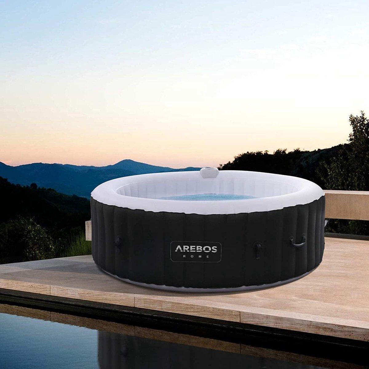 |jacuzzi |bubbelbad | jacuzzi opblaasbaar 4 personen| jacuzzi opblaasbaar|Opblaasbare whirlpool ROME voor binnen en buiten | rond | 1000 liter | massage | verwarming | wellness
