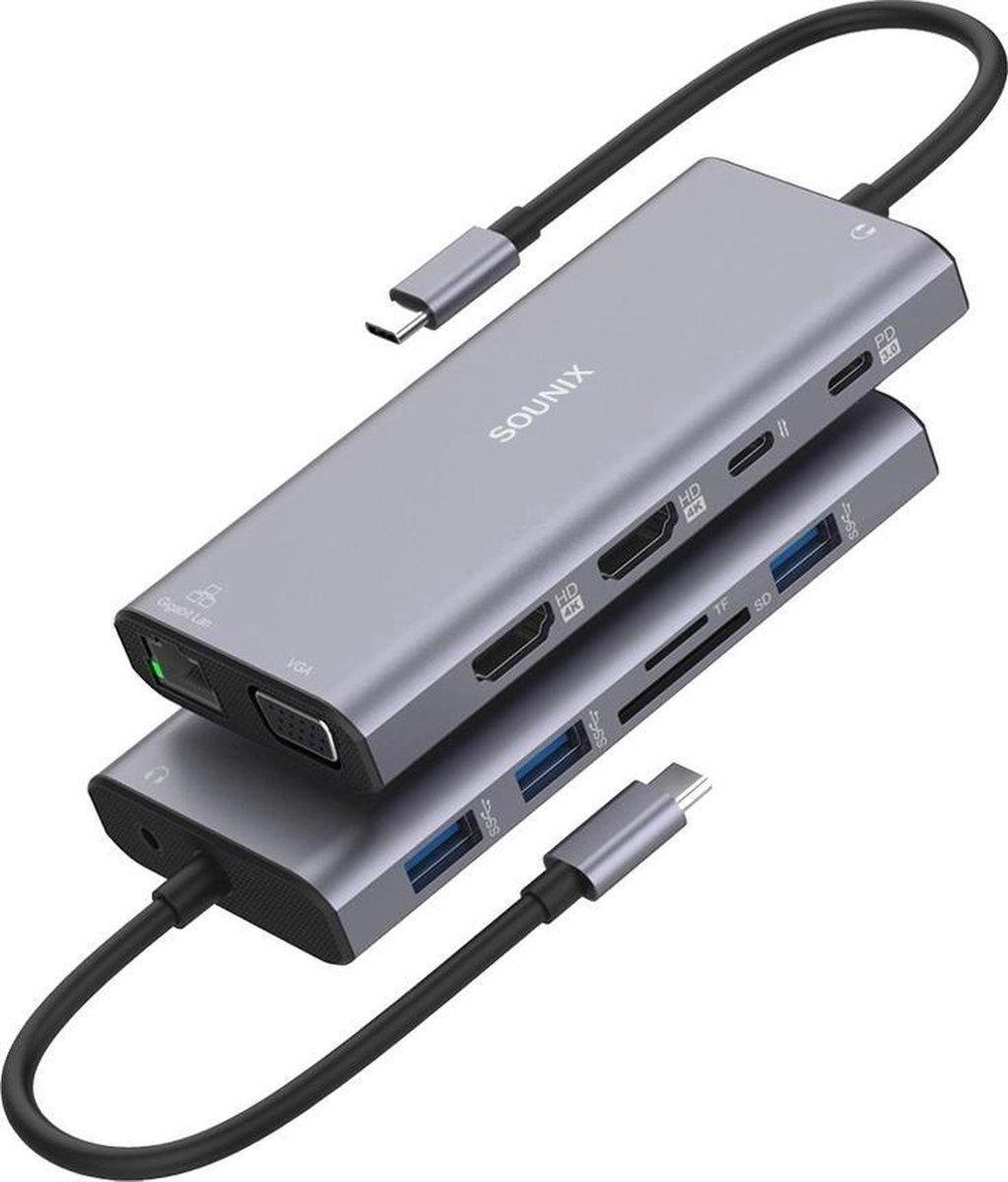 Sounix® 12 in 1 Docking station laptop - USB-C Hub Adapter - 4K UHD HDMI - VGA - USB 3.0 - Docking Station