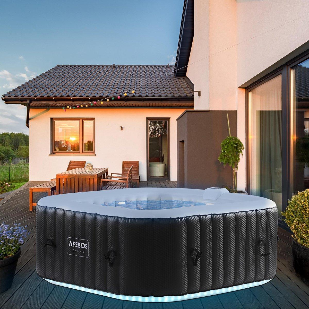 AREBOS in-outdoor whirlpool spa zwembad massage opblaasbaar vierkant met LED