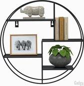 Gadgy Wandrek Industrieel - Rond met 4 metalen planken - Wandrek Metaal Zwart – Wandkast - Ø42x10 cm