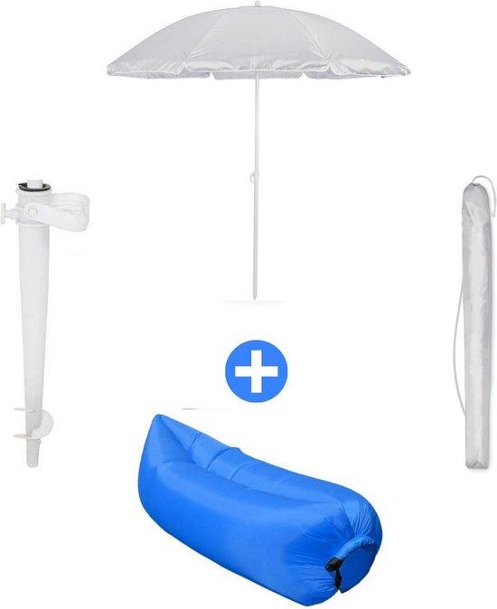 Strandset met UV bescherming - Parasol set - Voet en Hoes + Bescherming (tot 175 cm) - Strand/beach - Starterspack