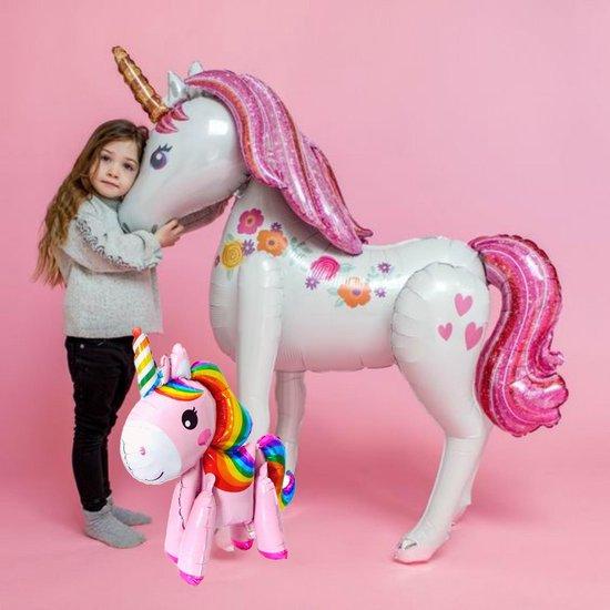 Unicorn Ballon XL 116cm + Kleine Eenhoorn 58cm Inclusief Opblaasrietje |Grote opblaasbare Paard Luxe Thema Party | Feestpakket Princess Prinses 3D Ballonnen | Verjaardag versiering - Kinderfeest