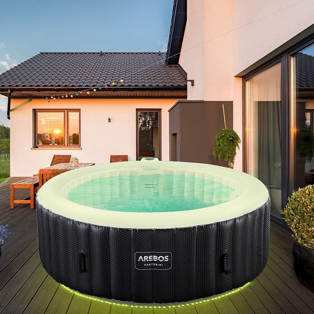 |bubbelbad| jacuzzi|jacuzzi opblaasbaar|Whirlpool Santorini | automatisch opblaasbaar | In & Outdoor | 6 personen | LED lichtband | 130 massagejets | 1000 liter | Incl. afdekking | Bubble Spa & Wellness