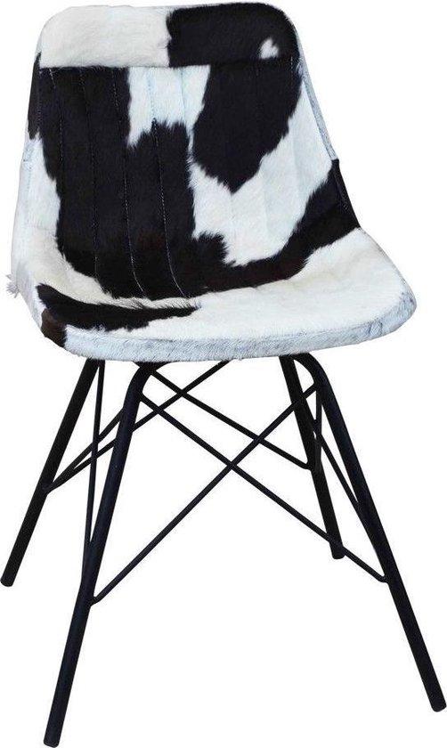 Back2Nature Stoel van koeienhuid zwart en wit (zelfmontage)