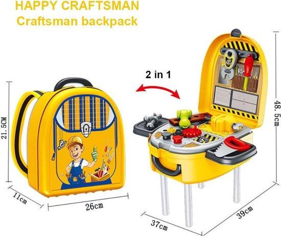4yourkids - Praktische kinderen craftsman speelset - 18 stuks - Jongen en meisjes - Speelgoed tool kit - Rugzak - Rollenspel - 3 jaar - Geel | Multi