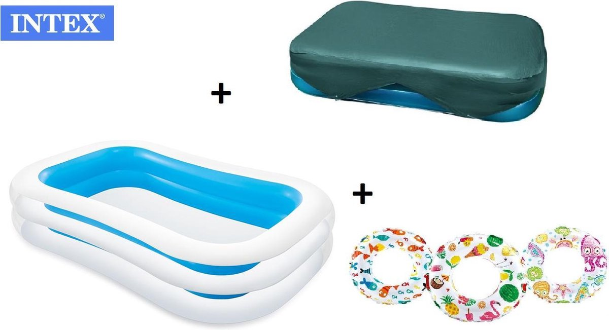 zwembad - zwembad intex afdekzeil - afdekhoes - familie zwembad - opblaasbare zwembad - COMBIDEAL - 262x175x56cm + GRATIS 1x Opblaasbare zwemband/zwemring 61 cm - Zwembenodigdheden - Zwemringen
