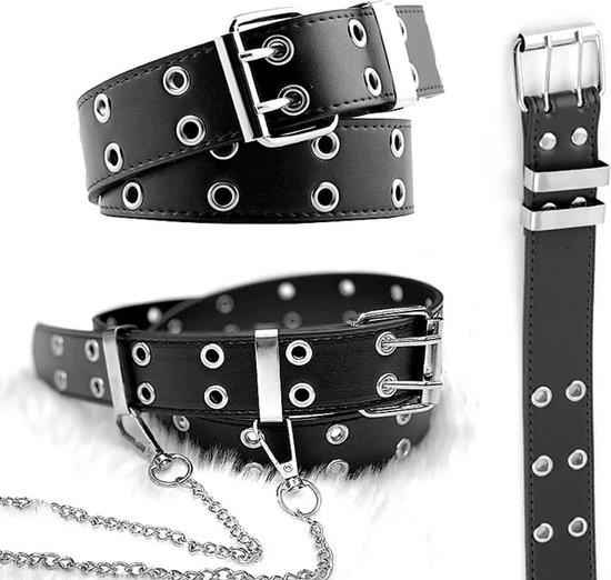 Wow trendy fashion Riem Zwart met zilveren ringen en hanger