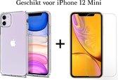 iPhone 12 Mini hoesje apple siliconen transparant case - 1x iPhone 12 Mini Screen Protector