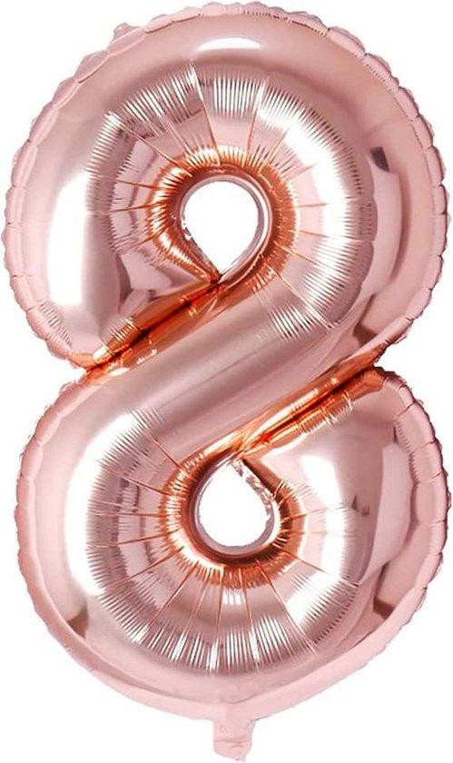 Ballonnen Verjaardag Versiering Decoratie Cijfer Folie Ballon Feest - 8 Jaar - 100 CM - Rosé Goud - Lets Decorate®