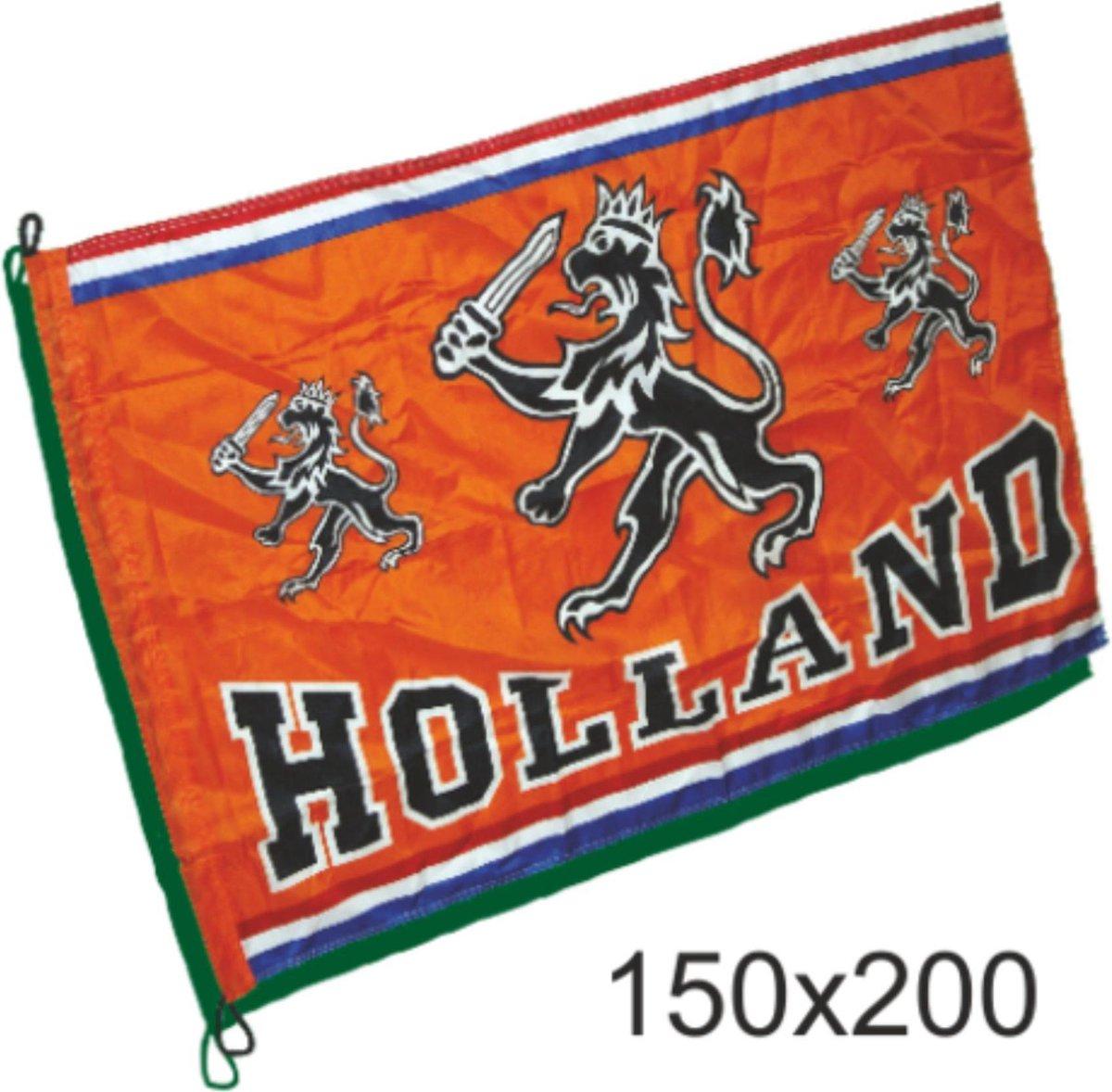 Grote vlag oranje Holland met leeuw   EK Voetbal 2020 2021   Nederlands elftal vlag   Nederland supp