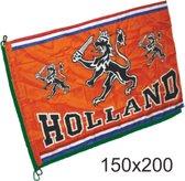 Grote vlag oranje Holland met leeuw   EK Voetbal 2020 2021   Nederlands elftal vlag   Nederland supporter   Holland souvenir   150 x 200 cm