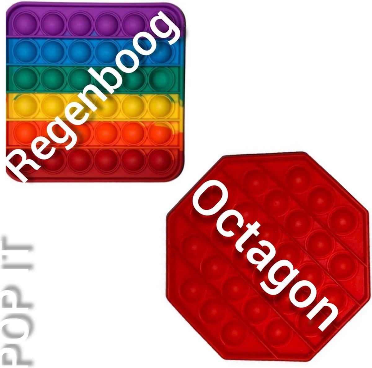 Pop it | Fidget toys pakket | Regenboog vierkant + Achthoek rood | Meisjes jongens volwassenen | Anti stress 2021| Cadeautip _ Leuk voor zwembad