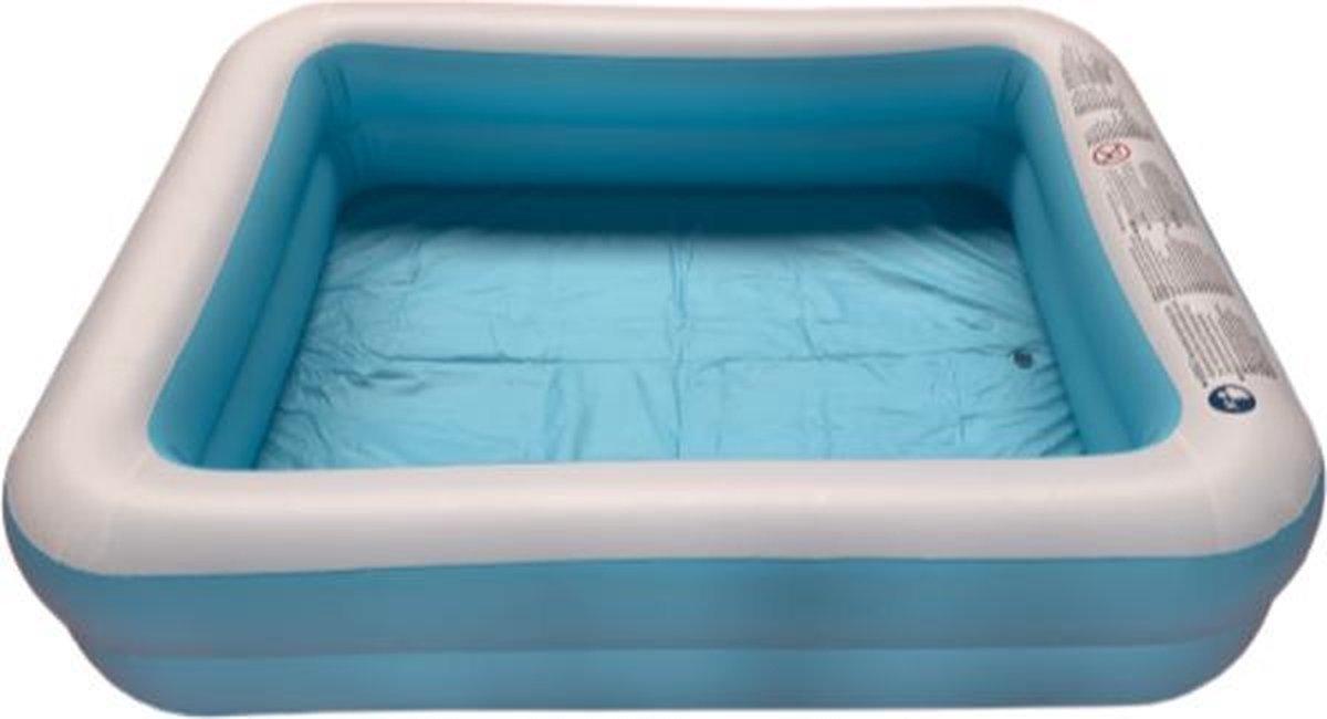 Opblaasbaar Zwembad Rechthoekig Blauw - 181x141x46 Kinderbad - Familie bad - Zwemparadijs - opblaas zwembad in tuin - met leegloop ventiel