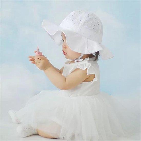 Zonnehoedje - Baby - Hoedje - Wit - 6 t/m 18 maanden - Kraamcadeau