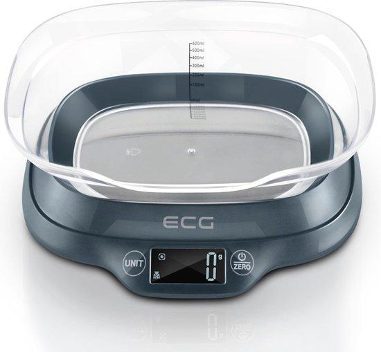 Keukenweegschaal - Tot 5 kg - Keukenweegschaal digitaal - Met kom - Donkergrijs