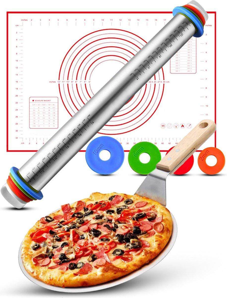 Rednas Pizzaschep-set voor BBQ en Oven - Deegroller/Deegrolmat - RVS