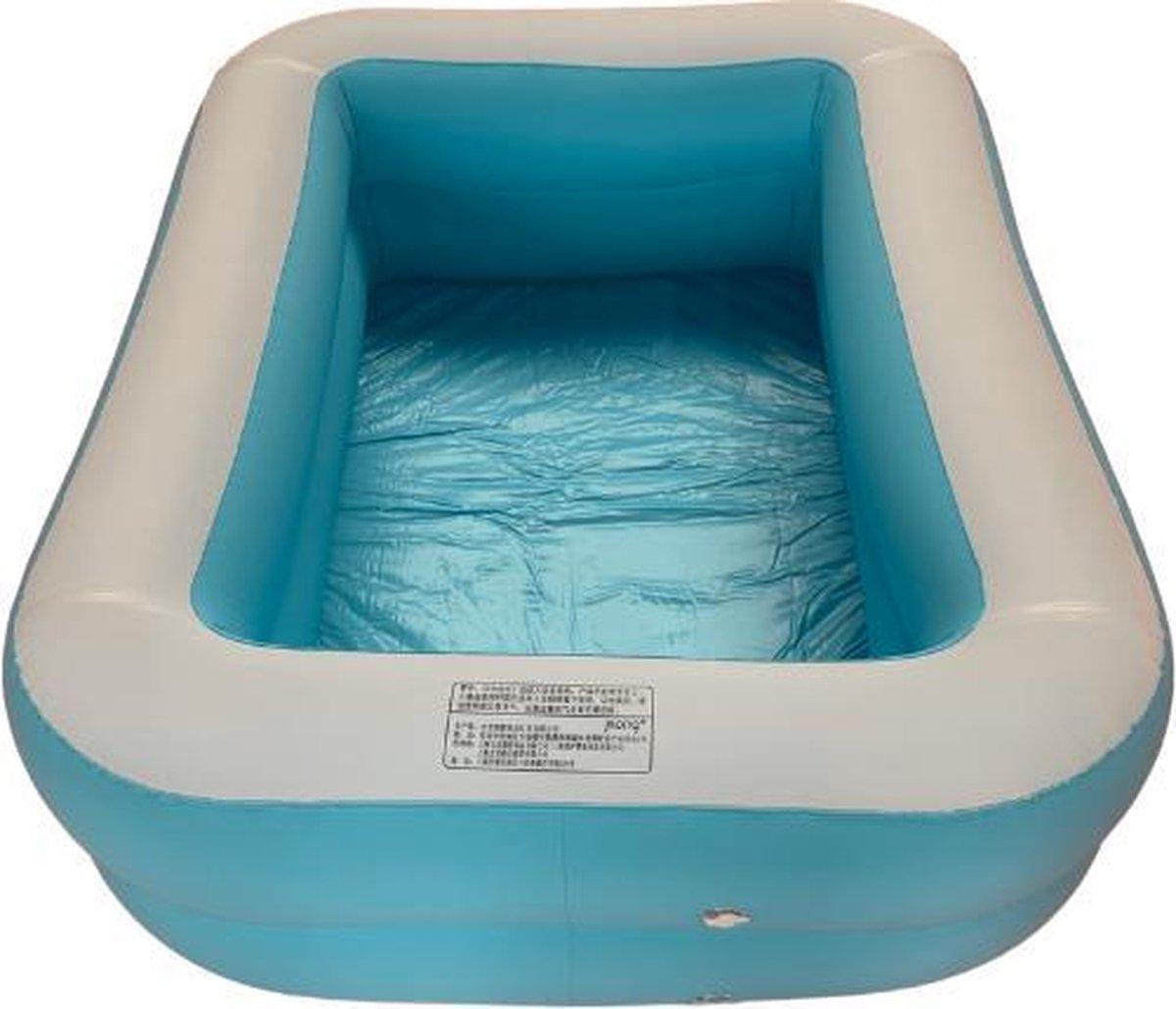 Opblaasbaar Zwembad Rechthoekig Blauw - 110x88x33 Kinderbad - bad - Zwemparadijs - opblaas zwembad in tuin - met leegloop ventiel