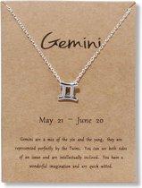 Bixorp – Silverkleurige ketting met sterrenbeeld hanger Tweeling (Gemini) & Nederlandstalige informatie over het Sterrenbeeld