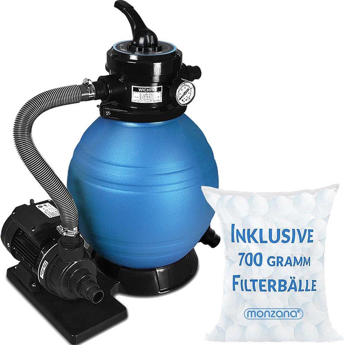 Zandfiltersysteem 0,2 m³/uur Zandfilter Zwembadfilter + 700 g Filterballen