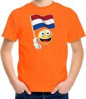 Emoticon Holland / Nederland landen t-shirt - oranje - kinderen - EK / WK / Olympische spelen shirt / kleding S (122-128)