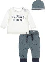 Dirkje Bio Basic SET(3delig) Groene Broek met beertjes, Shirt wit met tekst en mutsje - Maat 56