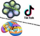 LET OP Snapperz rainbow en Simple Dimple Spinner GLOW IN THE DARK - Fidget Speelgoed - Pop It Snapperz - Regenboog Snapperz Popper - Gezien op Tiktok