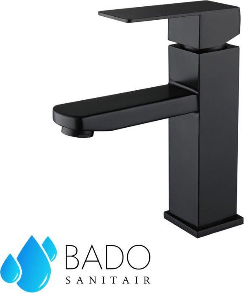 BADO Wastafelkraan Zwart - Roestvrij staal - Mengkraan - Inclusief aansluiting - Badkamerkraan - Zwarte Kraan