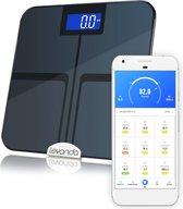 slimme weegschaal met lichaamsanalyse app bluetooth digitale personenweegschaal spiermassa vetpercentage BMI weegschaal vetmeter beste koop afvallen sport en dieet hulp body analyser slimme personen weegschaal gezondheids meting smart weight scale