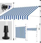 Sens Design Zonneluifel - zonnescherm tuin - zonder boren - blauw/wit - 200cm