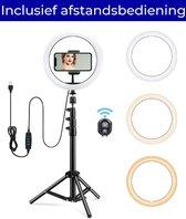 Ringlamp met statief, telefoonhouder en bluetooth afstandsbediening – LED - 10 inch / 26 cm – 186 hoog - Wit | Zwart