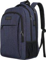 TravelMore Rugzak XL - Schooltas - 17,3 inch Laptop Rugtas - Dames/Heren - 36L - Waterafstotend - Blauw
