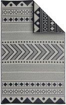 Alice's Garden Buitentapijt BAMAKO - 120x180cm - Tweezijdig - zwart/beige
