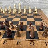 Schaakbord 39x39cm - Met backgammon - Inklapbaar -  Houten Schaakbord - Schaakspel - XL formaat