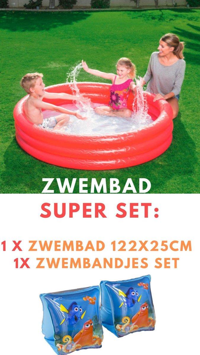 Blauw Opblaasbaar 3-Ringen Zwembadje voor Kinderen Vanaf 2 Jaar - 114x25cm | Peuter Zwembad Tuin Buiten | Pierenbadje | Pierenbad | Zwembadje | Drie Aparte en Gelijke Ringen | Blauwe