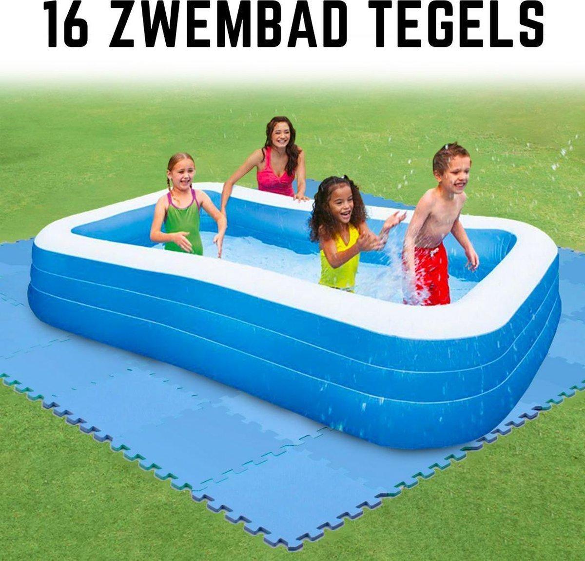 Zwembad Tegels - Zwembad Ondervloer - Zwembad Ondertegels - Foam Tegels - 16 Stuks - 30 * 30 cm