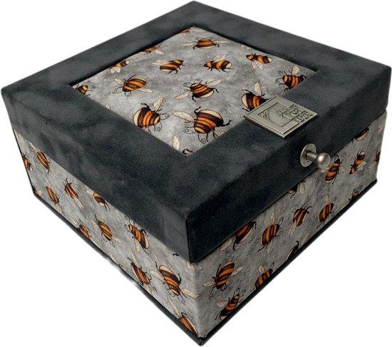 The Dutch Tea Box Bijen Theedoosje met Thee Cadeau - 4 vaks - Grijs