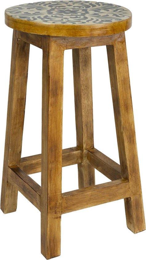 Kruk camo - krukje 60 cm - houten salontafels - woonkamer decoratie - bruine bijzettafels - tafeltje