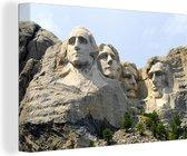 Beroemde monument Mount Rushmore tijdens een zonnige dag Canvas 180x120 cm - Foto print op Canvas schilderij (Wanddecoratie woonkamer / slaapkamer) XXL / Groot formaat!