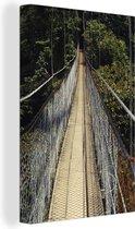 Enorme Hangbrug in Costa-Rica Canvas 120x180 cm - Foto print op Canvas schilderij (Wanddecoratie woonkamer / slaapkamer) XXL / Groot formaat!