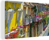 Historisch centrum oud-Cartagena Canvas 30x20 cm - klein - Foto print op Canvas schilderij (Wanddecoratie woonkamer / slaapkamer)