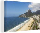 Ipanema-strand in het Braziliaanse Rio De Janeiro tijdens een zonnige dag Canvas 60x40 cm - Foto print op Canvas schilderij (Wanddecoratie woonkamer / slaapkamer)